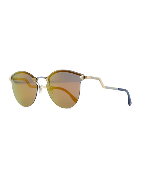 Fendi Rimless Sunglasses With Stepped Arms, Gold