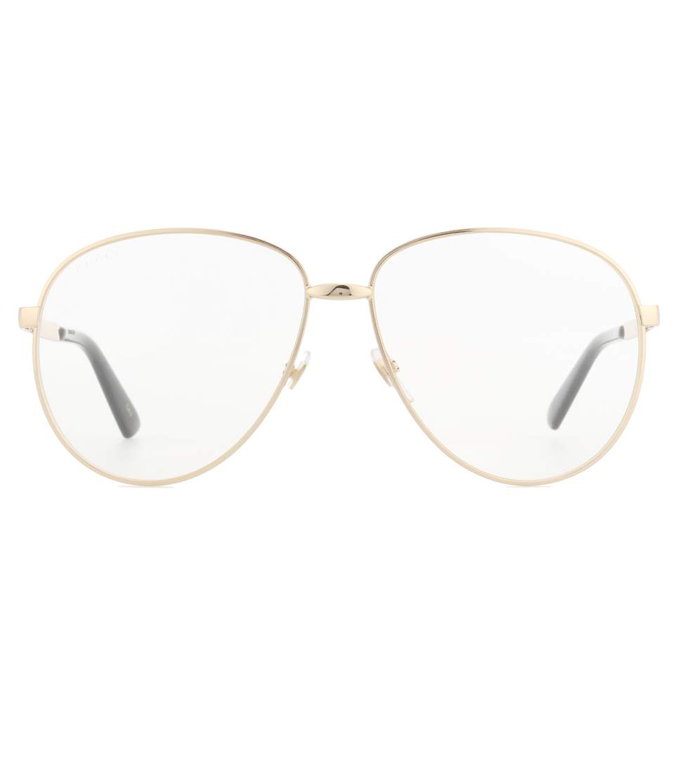 3601c3fd76e Gucci Web Stripe Temples Metal Aviator Optical Glasses In Gold ...