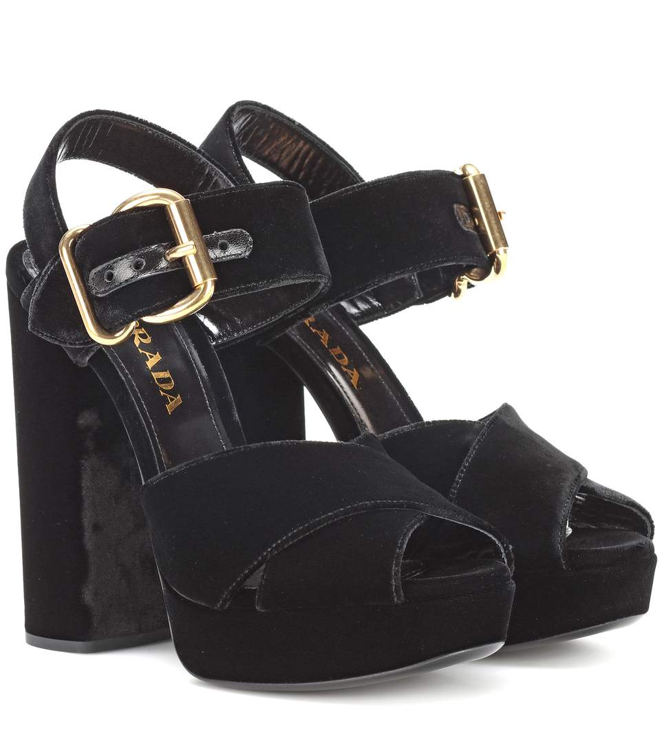 11ede9f62fd0 Prada Cross-Strap Velvet Platform Sandals In Black