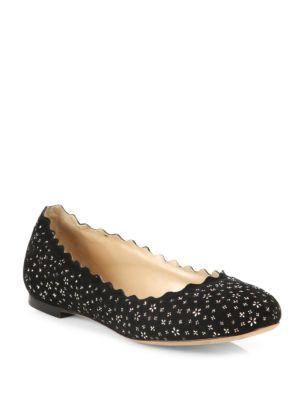 ChloÉ Lauren Embellished Suede Ballet Flats In Black Floral