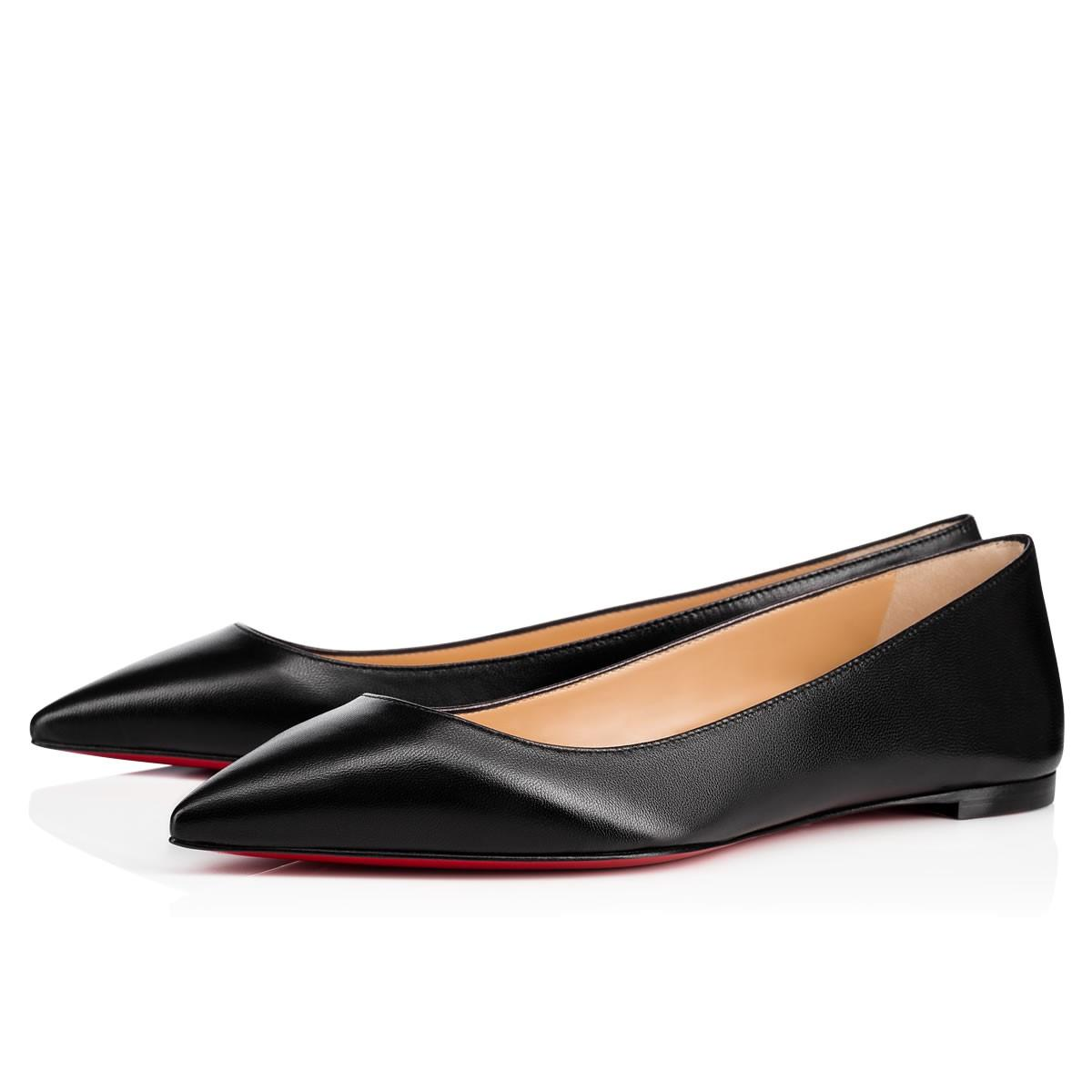 1b5c573959e Christian Louboutin Ballalla Smooth Leather Red Sole Ballet Flats In Black