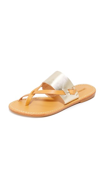 03950e4a5983 Soludos. SOLUDOS.  Slotted  Thong Sandal in Metallic Platinum
