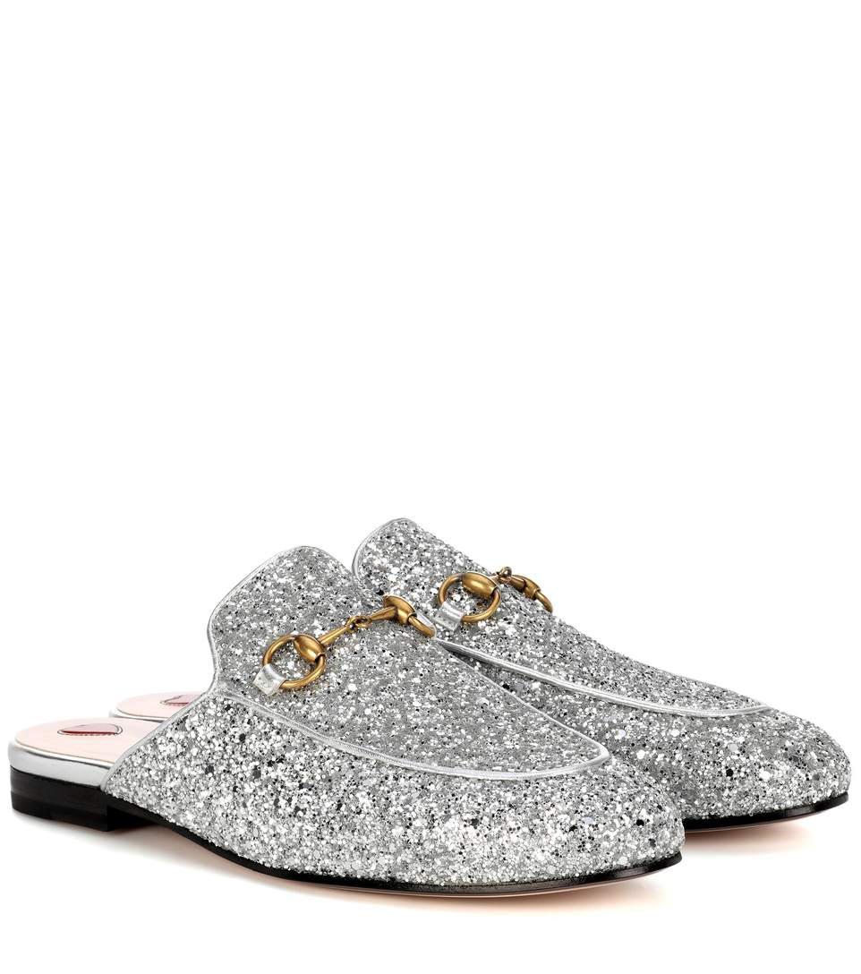 07ae9a3f658 Gucci Princetown Horsebit-Detailed Glittered Leather Slippers In Silver .
