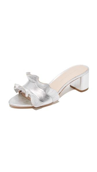 faff09d8526 Loeffler Randall Vera Metallic Leather Block Heel Slide Sandals In Silver