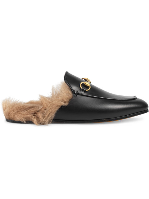 Gucci Slip On Shoes Dkhh0 Lamb Fur Smooth Leather Horsebit-Detail Black