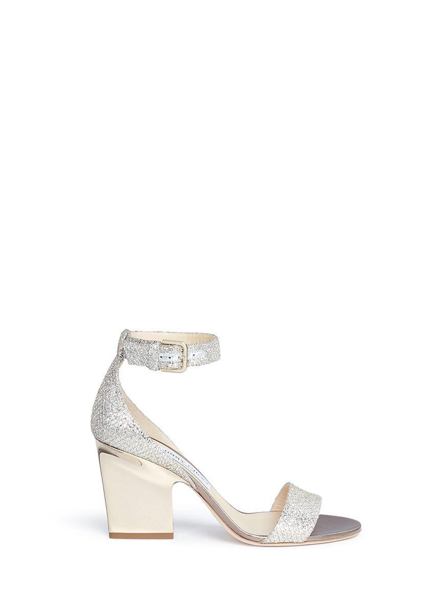 c5431fd1113 Jimmy Choo  Edina 85  Sculpted Heel Glitter Sandals