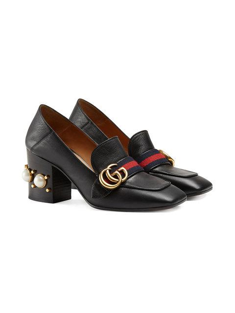 73464fa961bf Gucci Peyton Pearl-Embellished Leather Loafers In Black