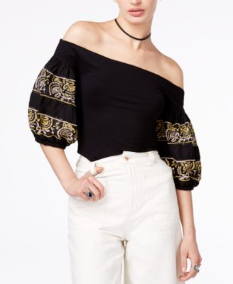 46d33e83420eb Shop Free People Rock With It Off-The-Shoulder Top In Black