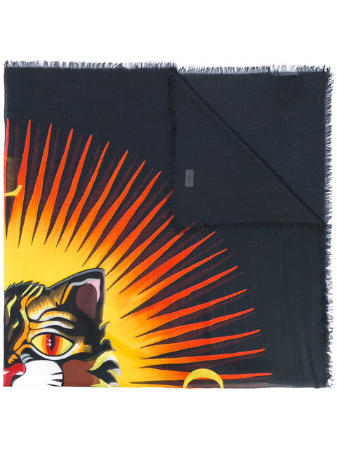 7eb6f949519df4 Gucci Scarf 140 X 140 Cm Silk And Modal Scarf With Angry Cat Print In 1076