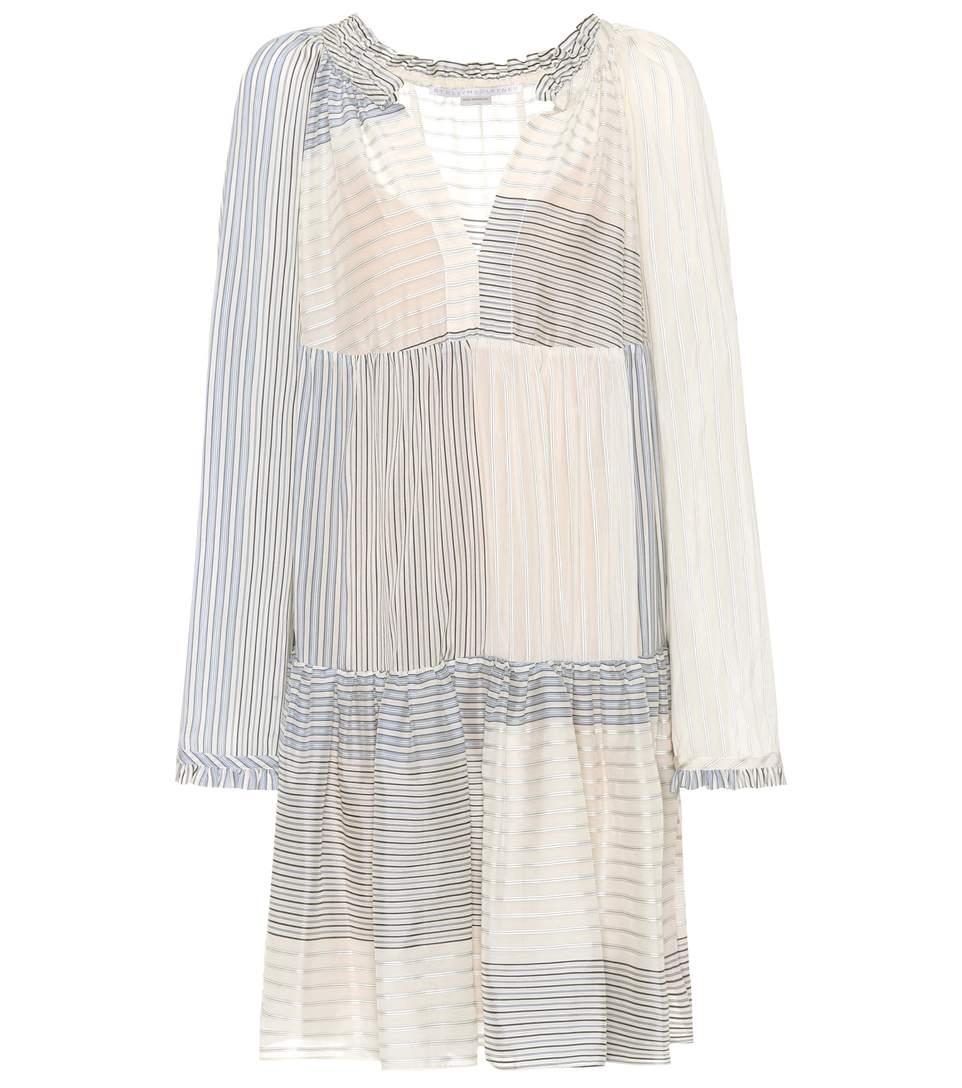 165b94aed0 Stella Mccartney Woman Patchwork-Effect Striped Cotton And Silk-Blend Mini  Dress Light Blue