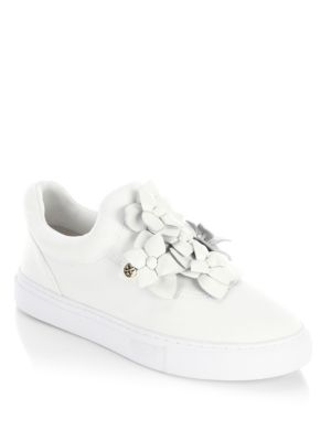 cc8d04985841 Tory Burch Blossom Floral-AppliquÉD Leather Slip-On Sneakers In ...