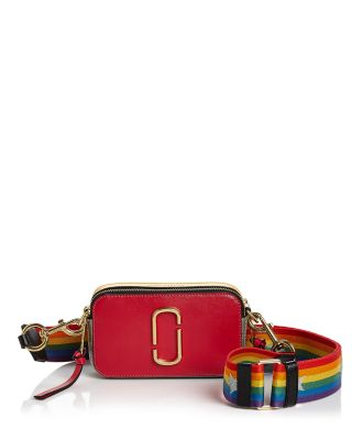 9f8a7fab40a Marc Jacobs Snapshot Rainbow Strap Color Block Saffiano Leather Camera Bag  In Shocking Pink Multi/