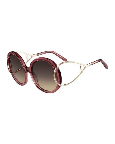 ChloÉ Jackson Round Oversized Sunglasses, Rose, 035 Grey