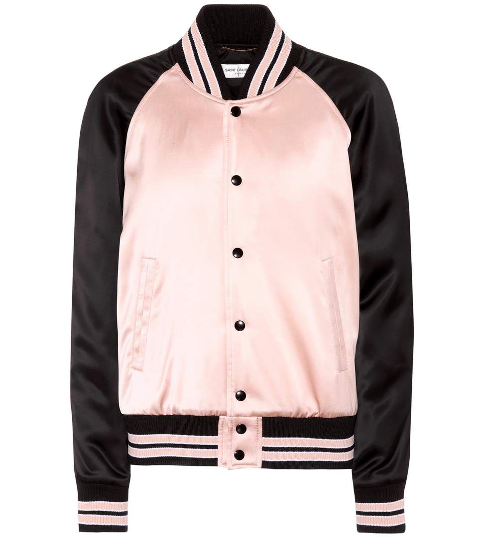 3a80d7a0cc8 Saint Laurent Oversized Teddy Baseball Jacket In Powder Pink And Black  Washed Satin Viscose