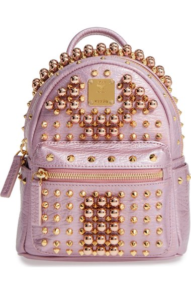 5bc8ede265e Mcm Small Stark Pearl Stud Backpack In Prism Pink