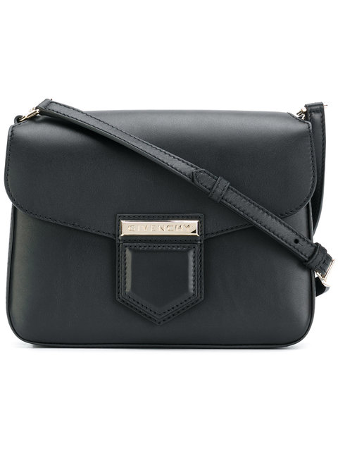 This black calf leather small Nobile bag is a sleek everyday bag and  features an adjustable shoulder strap e4bc8cd94ccea