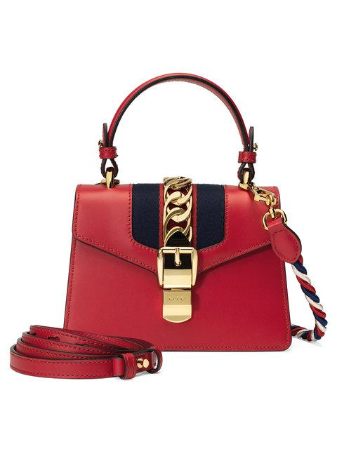 b5a09724adf Gucci Sylvie Mini Chain-Trimmed Leather And Canvas Shoulder Bag In ...