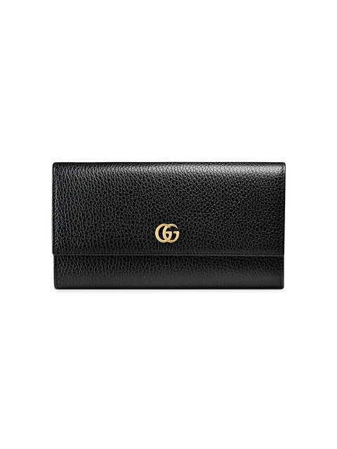 e65f4d593385a3 Gucci Petite Gg Marmont Leather Flap Wallet On A Chain, Black   ModeSens