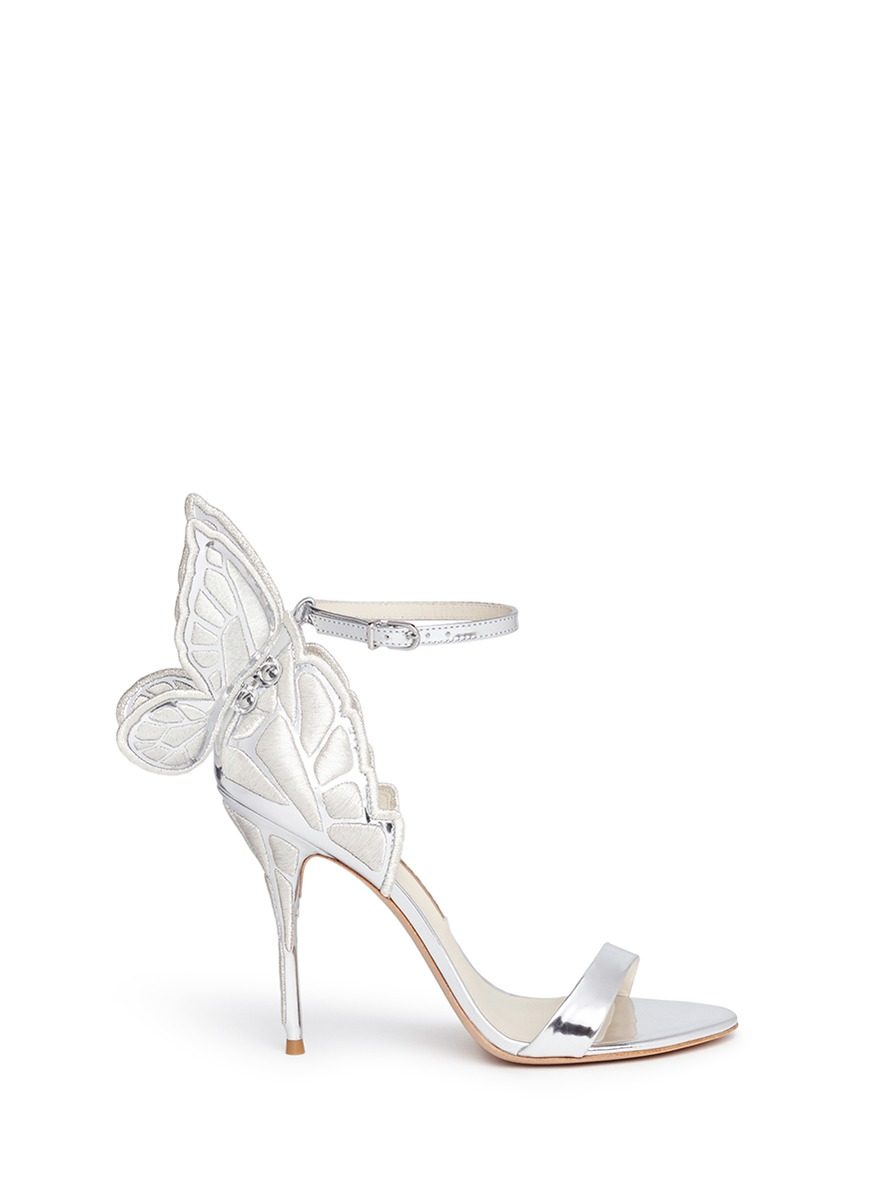 ce08ec59b83 ... Butterfly Embroidered Mirror Leather Sandals in Silver. Sophia Webster