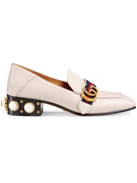 d3371b8a91f Gucci Logo And Faux Pearl-Embellished Leather Collapsible-Heel Pumps In  White