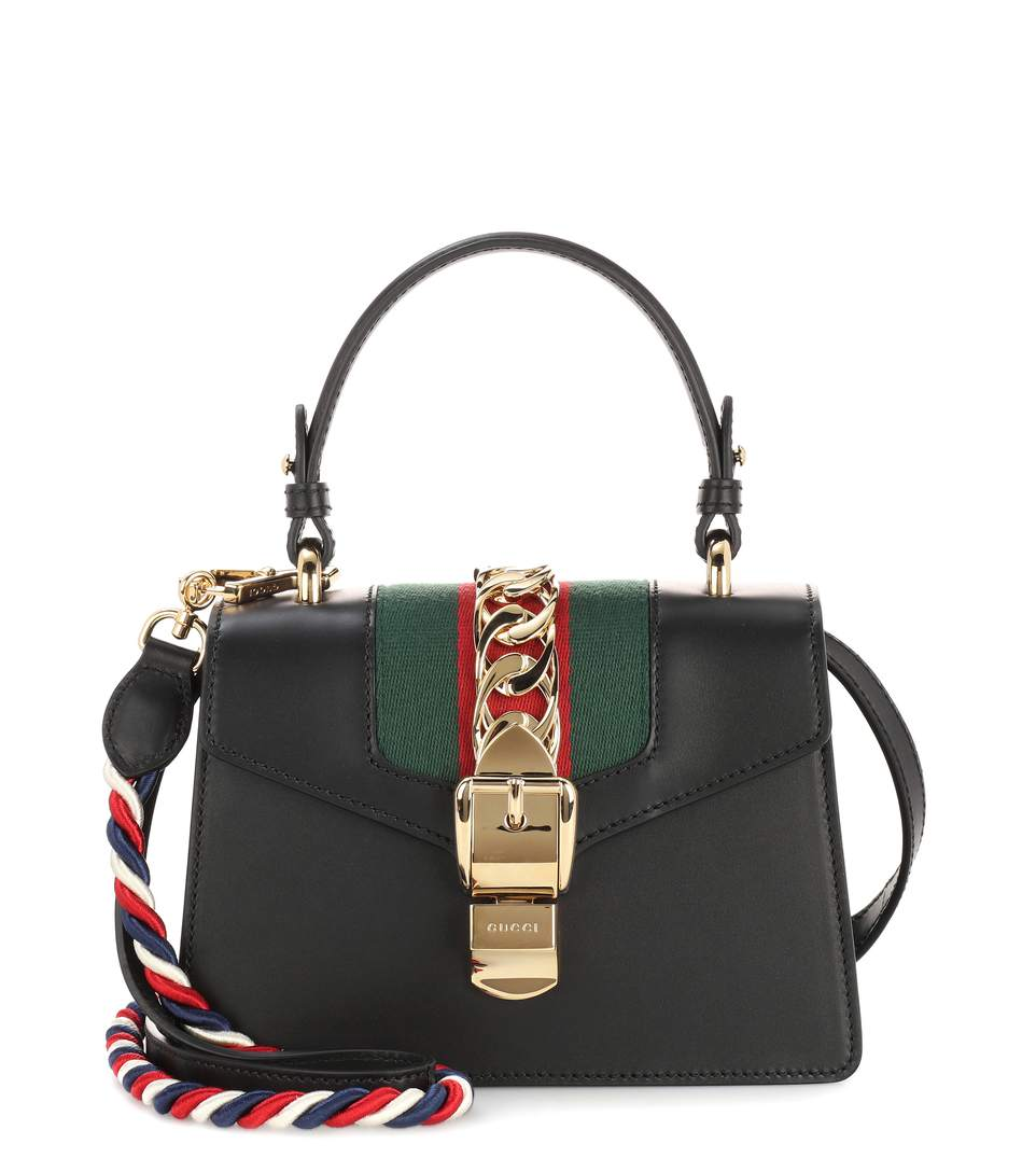 111184d04eb4 Gucci Sylvie Mini Chain-Trimmed Leather And Canvas Shoulder Bag In Black