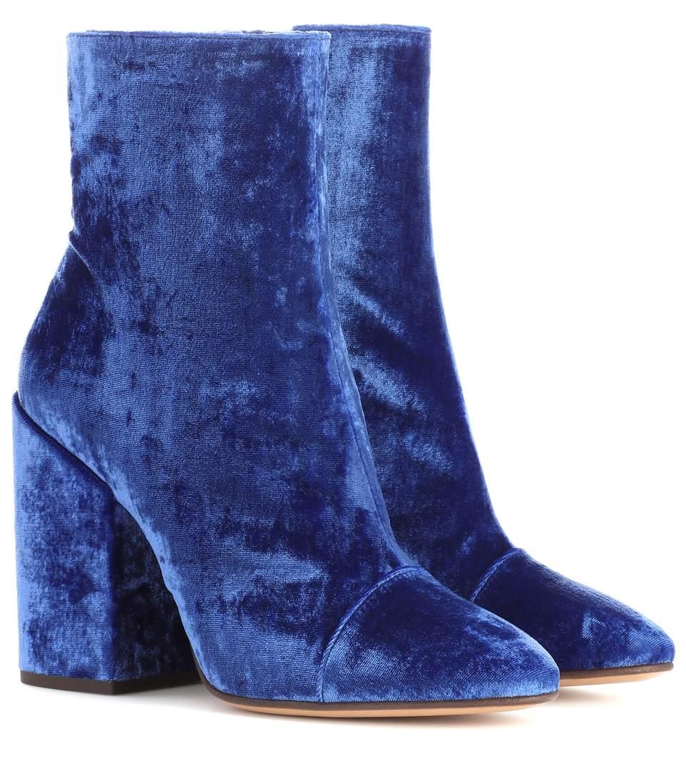 5bd55cccef2ca9 Dries Van Noten Velvet Ankle Boots In Blue