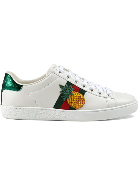 Gucci New Ace Pineapple-Embellished Leather Trainers In 9064 Ivory
