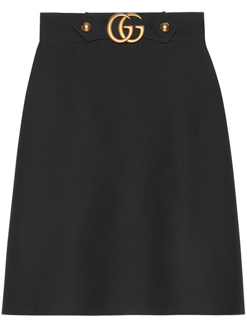 Gucci Embellished Wool And Silk-Blend Crepe Skirt In 1000 Black