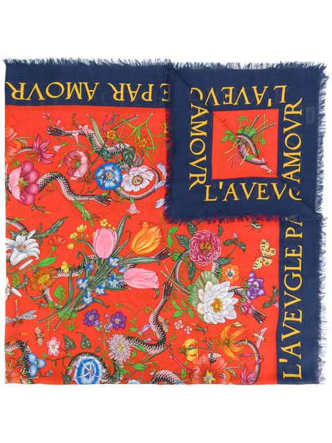 59abef5310b Gucci Flora Snake Print Shawl - Multicolour