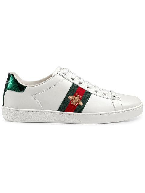 622767fa51d Gucci Ace Watersnake-Trimmed Embroidered Leather Sneakers In 9064 White