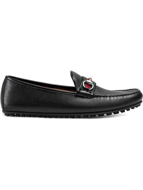 3c52a005e65 Gucci Damo Leather Horsebit Driver In Black