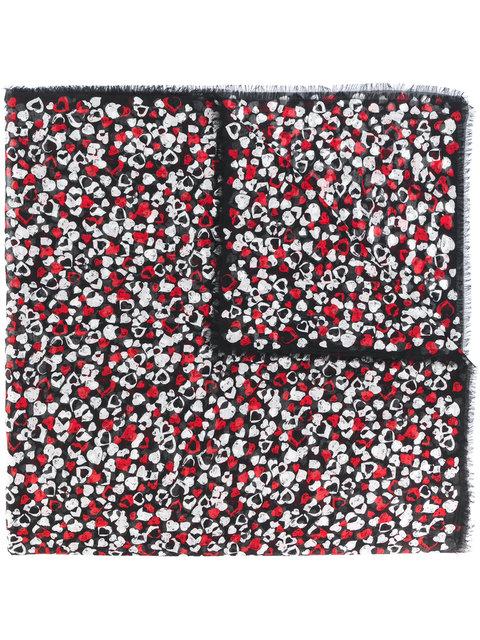 Saint Laurent Heart-print Wool Scarf In Black Multi