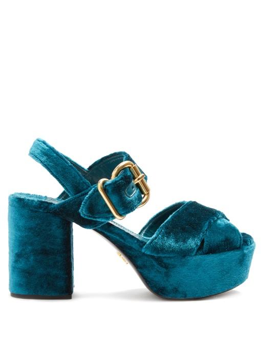 Prada Cross-strap Crushed-velvet Platform Sandals In Blue