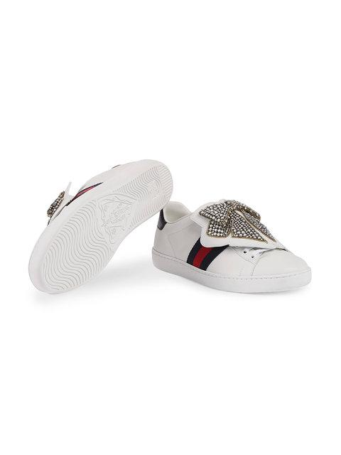 GUCCI ACE SNEAKER WITH REMOVABLE EMBROIDERIES,481154DOP8012156575