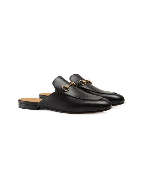 Gucci Men's Genuine Leather Slippers Sandals  Slipper In 1000 Black
