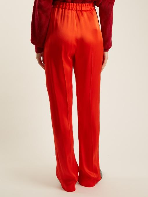 Stella Mccartney Cicely Wide-Leg Satin Trousers In Orange-Red