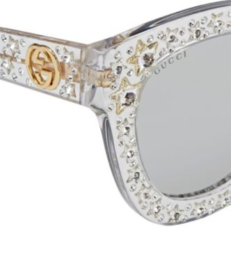6eb594ba139c0 Gucci Gg0116S Acetate Cat Eye Women s Sunglasses W Stars Feature Star  Worthy Retro In Silver