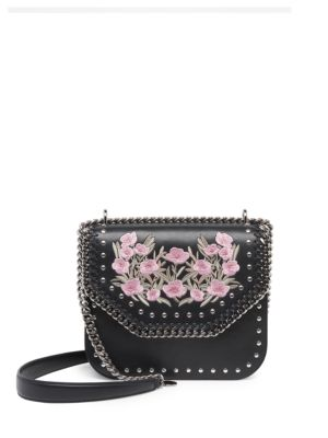 Stella Mccartney Falabella Box Embroidered Faux Leather Crossbody Bag In  Black-Pink 9aa040345c485