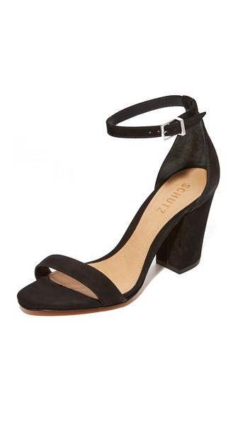 14ff1deda8 Schutz Women's Jenny Lee Suede Ankle Strap Block Heel Sandals In Black