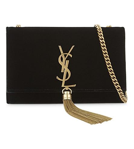 8a26de32d61 Saint Laurent Sunset Monogram Ysl Small Velvet Chain Crossbody Bag In Black