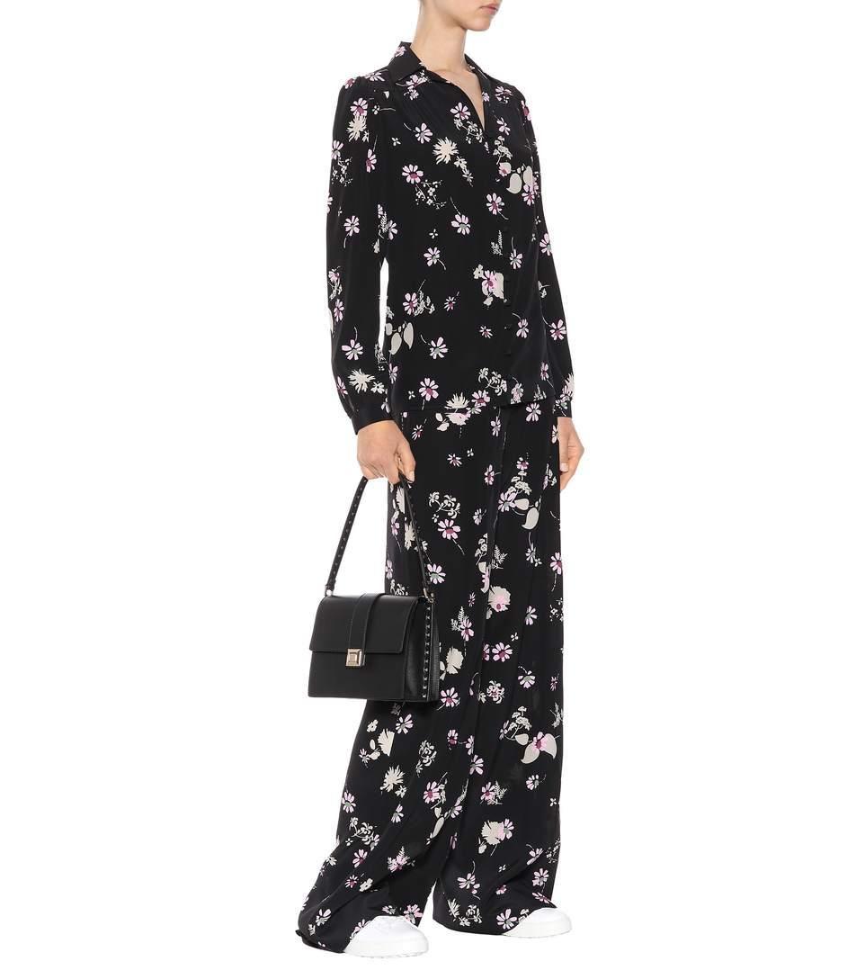 Valentino Floral-Print Silk Crepe De Chine Wide-Leg Pants In Black