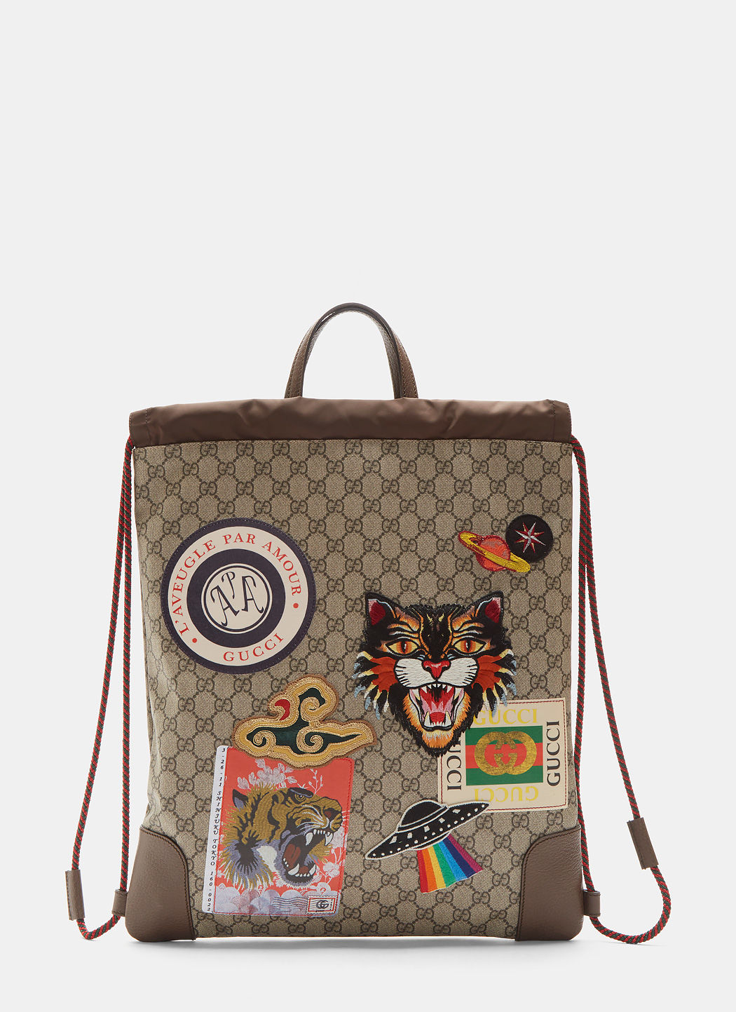 Gucci Courrier Soft Gg Supreme Drawstring Backpack In Neutrals ... 78f505f091de8
