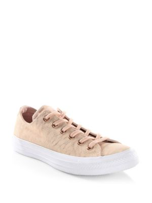 37ed965e171a Converse Women s Chuck Taylor Ox Shimmer Casual Sneakers From Finish Line  In Dusk Pink White