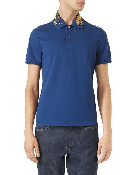 f31aeb3e2a20 Gucci Slim-Fit Embroidered Stretch-Cotton PiquÉ Polo Shirt In 4916 Ink  Tiger Colla