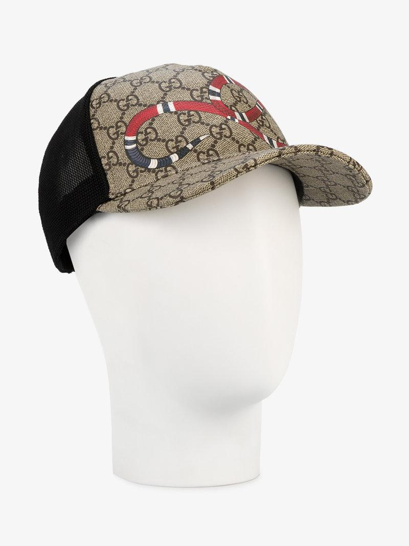 1accc236f48 Gucci Rap Baseball Cap With Snake And Gg Logo Detailing In Neutrals ...