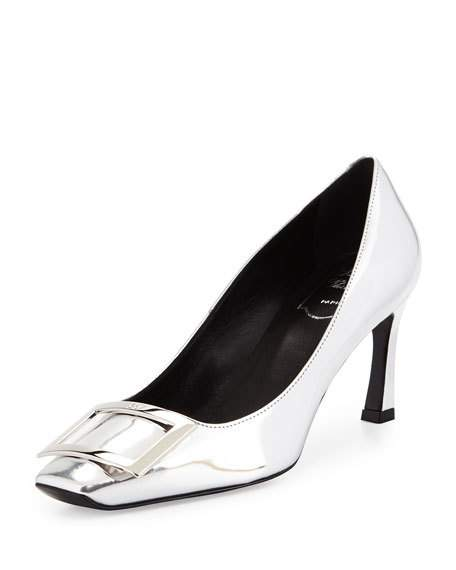 Roger Vivier DÉColletÉ Belle Vivier Trompette Leather Pumps In Silver 98a29280e47a5