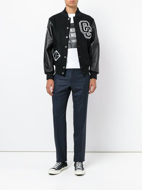 7eac9df82 Appliquéd Wool-Blend Twill And Textured-Leather Bomber Jacket in Black