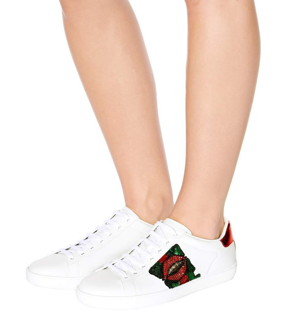 Gucci Ace Lip-Embroidered Leather Low-Top Sneakers In White