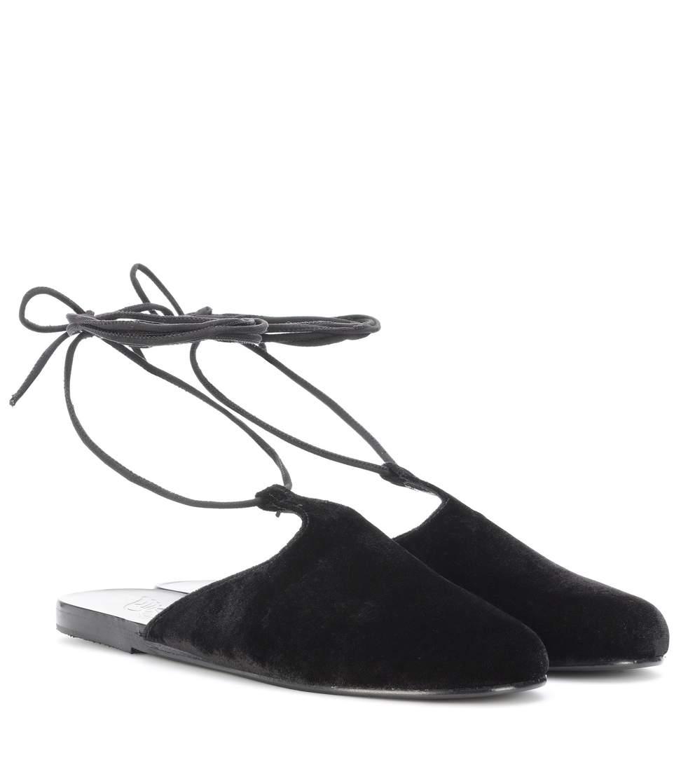Ancient Greek Sandals Epithymia Velvet Sandals In Black