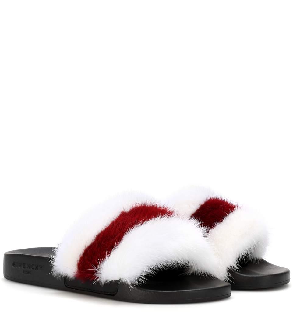 5239101c0b19 Givenchy Striped Mink Fur Pool Slide Sandal